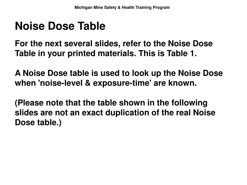 Noise Dose Table
