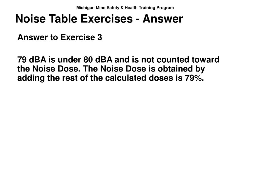 Noise Table Exercises - Answer