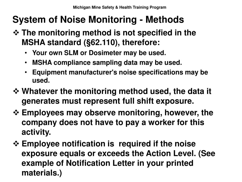 System of Noise Monitoring - Methods