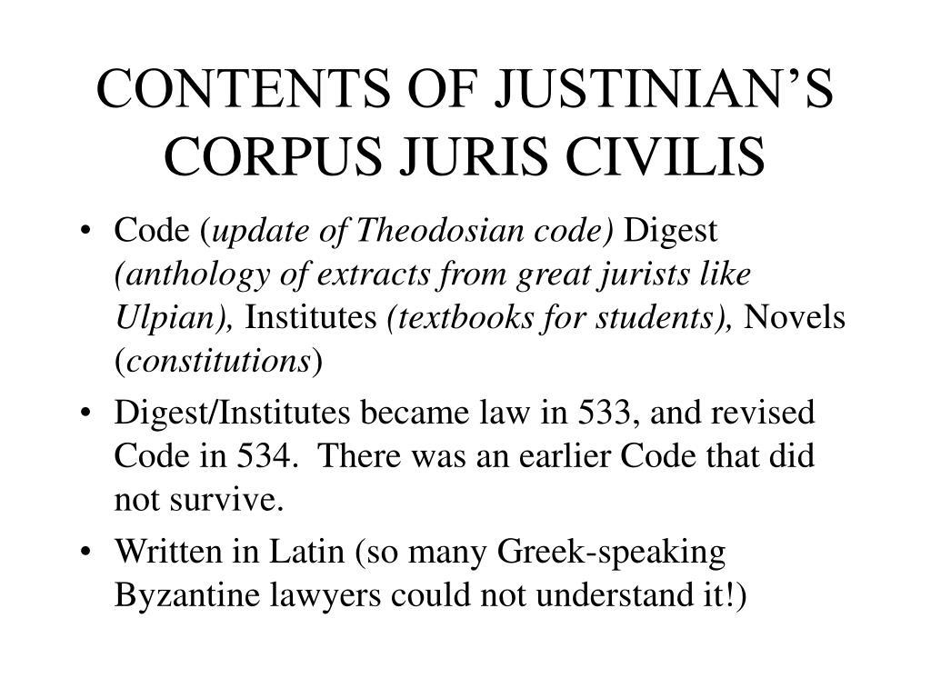 CONTENTS OF JUSTINIAN'S CORPUS JURIS CIVILIS