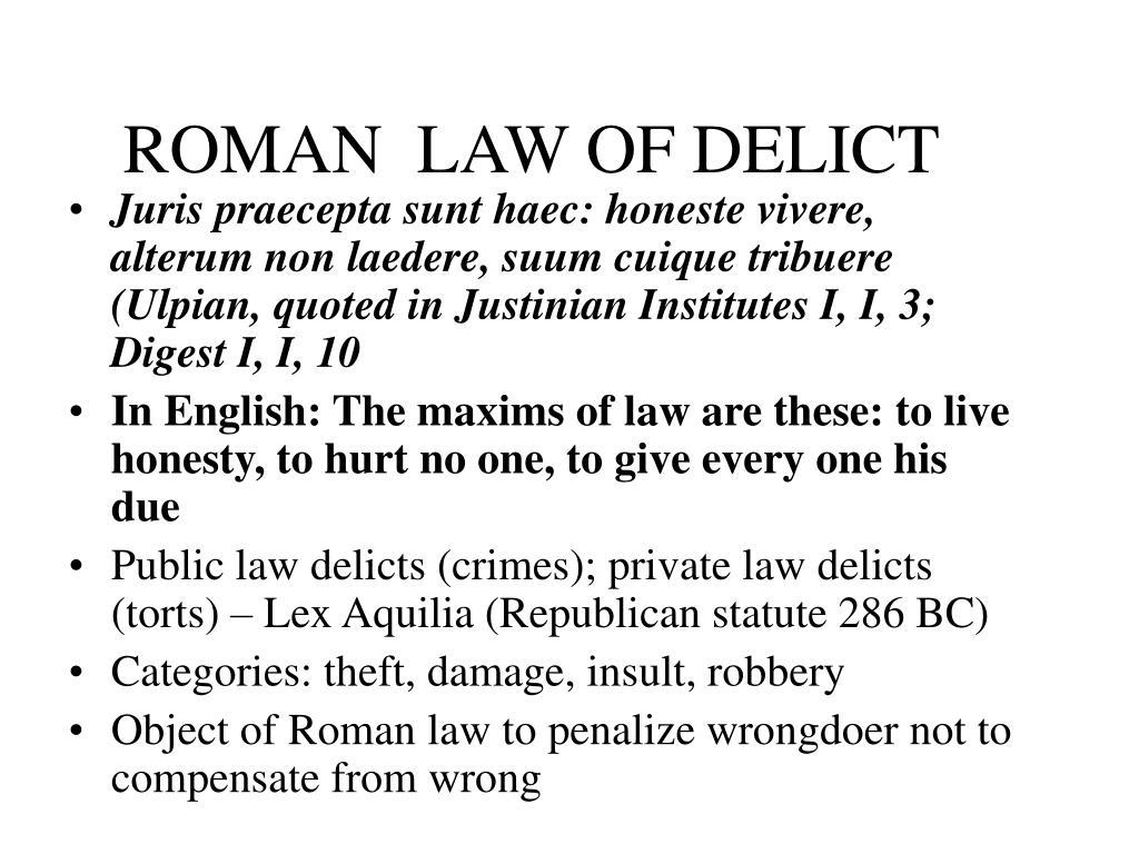 ROMAN  LAW OF DELICT