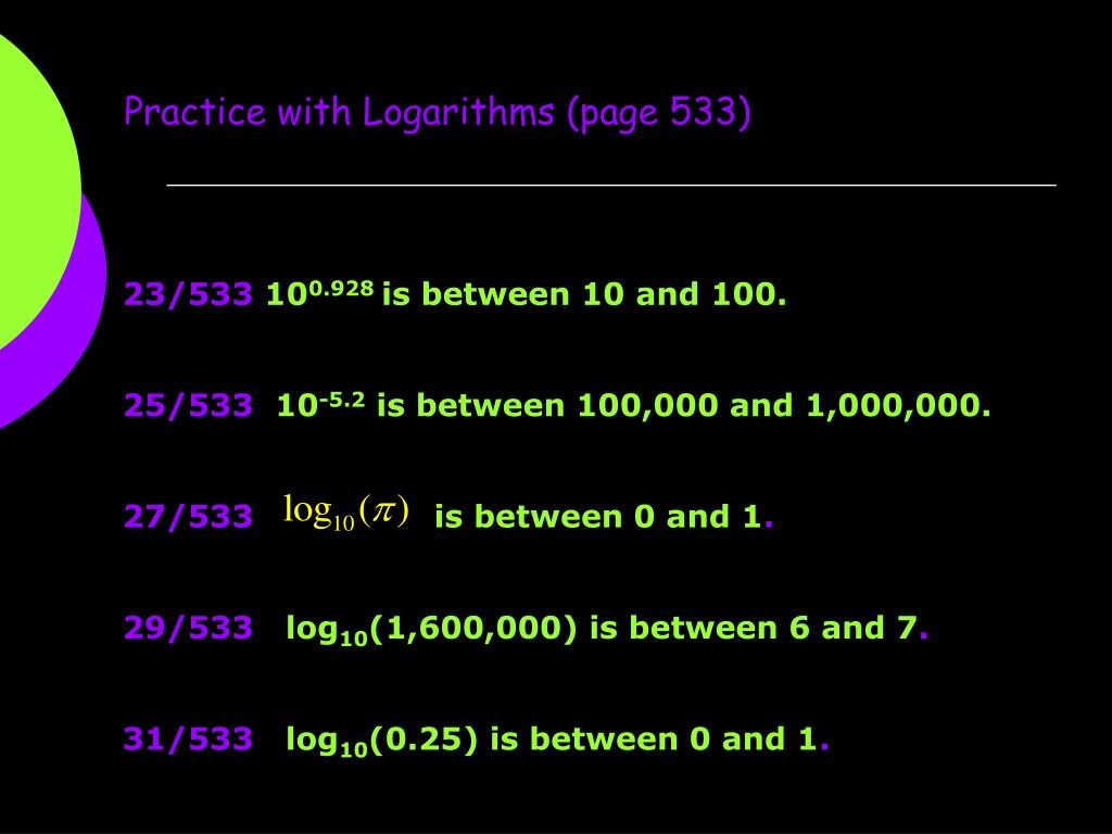 Practice with Logarithms (page 533)