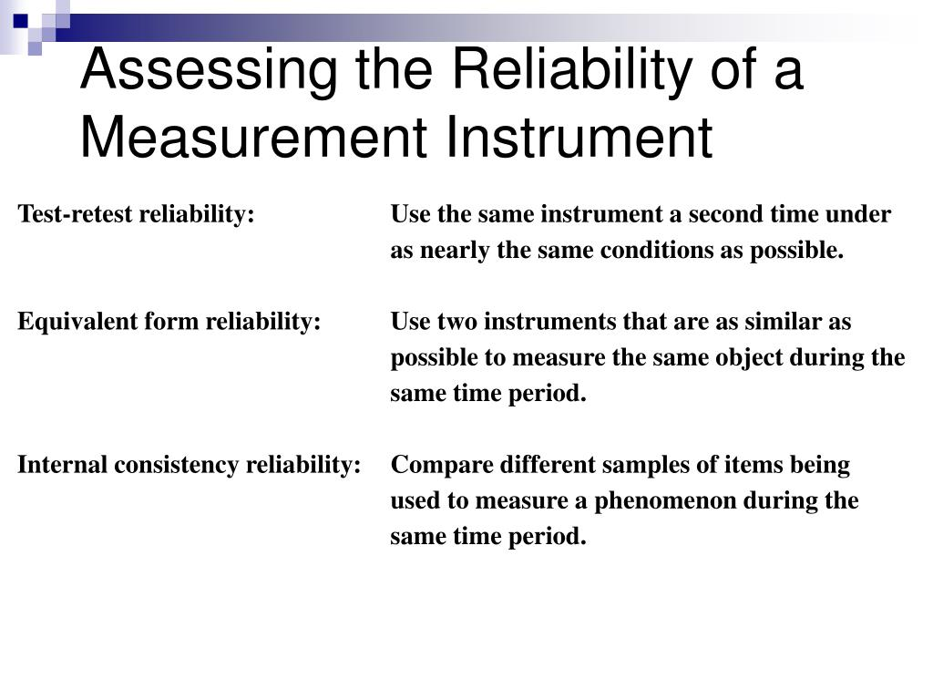 Assessing the Reliability of a Measurement Instrument
