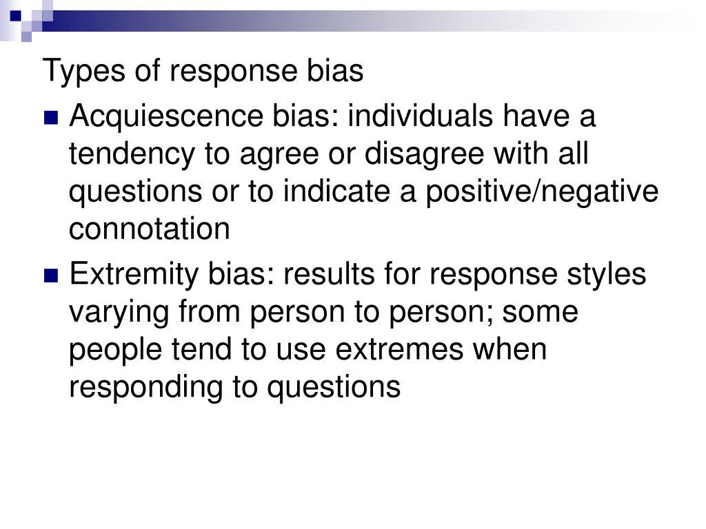 Types of response bias