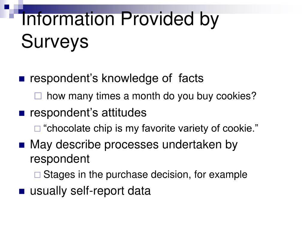 Information Provided by Surveys