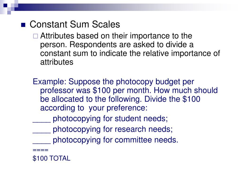 Constant Sum Scales