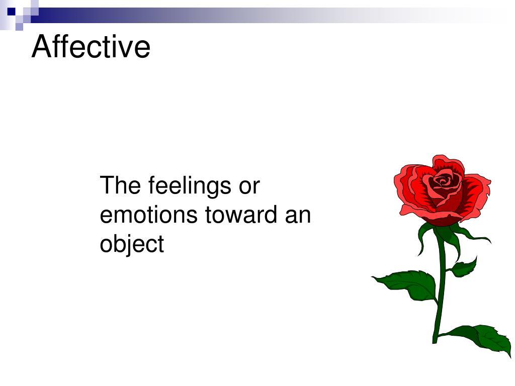 The feelings or emotions toward an object