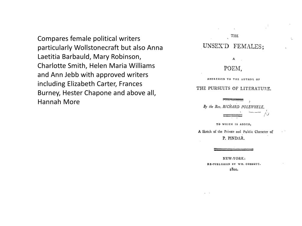 Compares female political writers particularly Wollstonecraft but also Anna