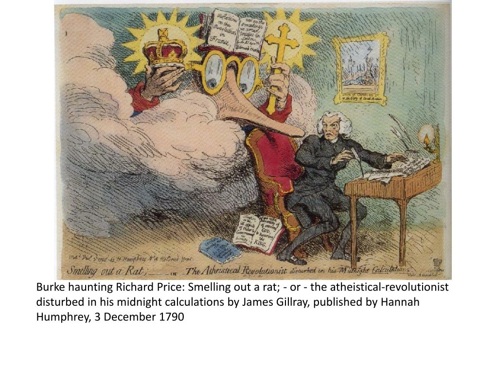Burke haunting Richard Price: Smelling out a rat; - or - the atheistical-revolutionist disturbed in his midnight calculations byJames Gillray,published byHannah Humphrey, 3 December 1790