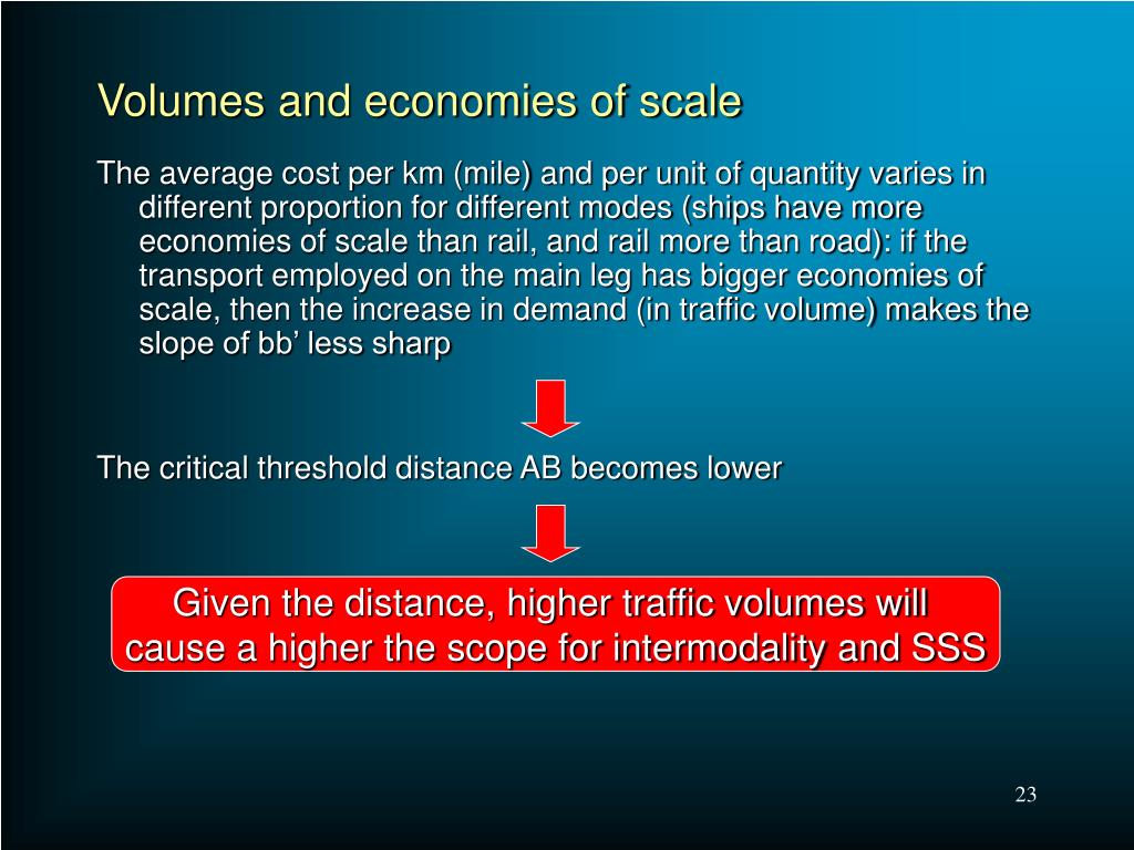 Volumes and economies of scale