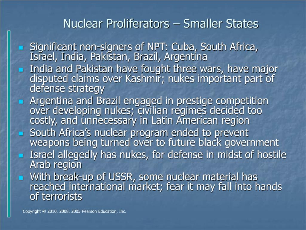 Nuclear Proliferators – Smaller States