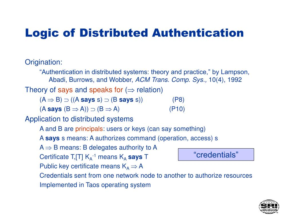 Logic of Distributed Authentication