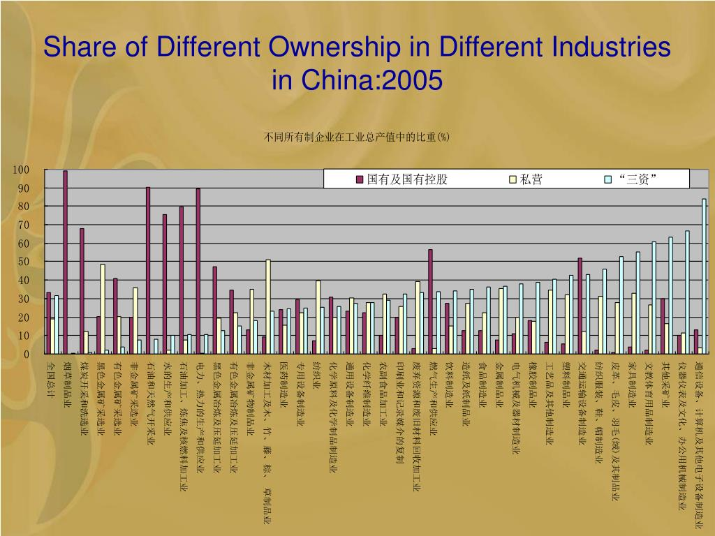 Share of Different Ownership in Different Industries in China:2005