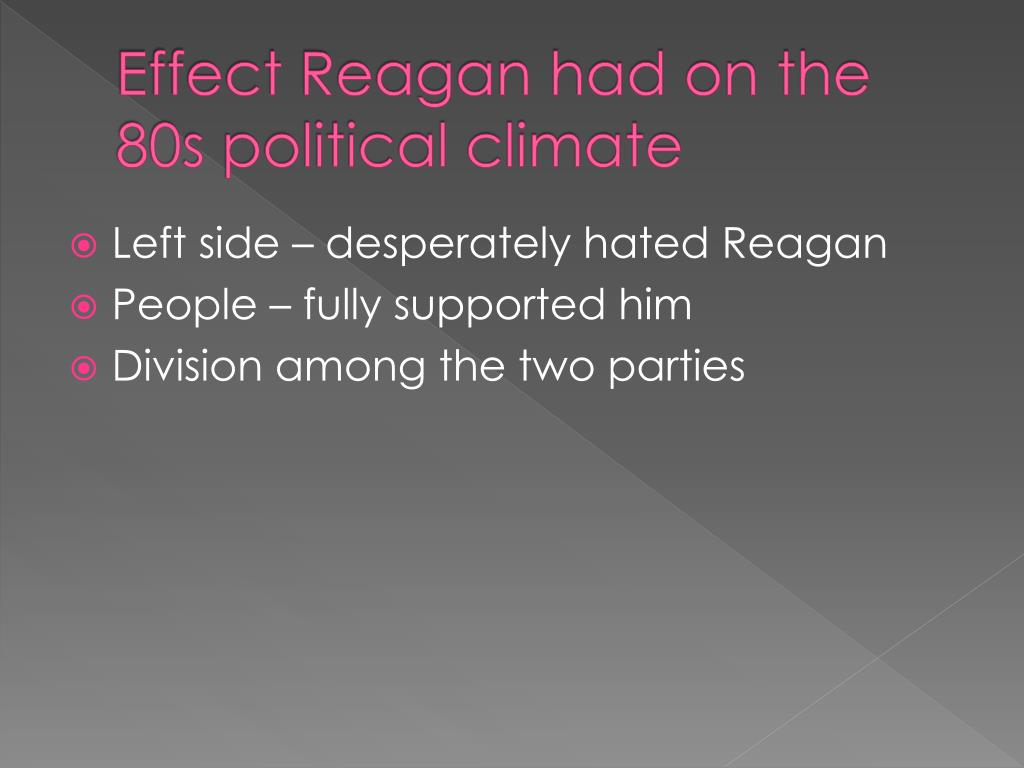 Effect Reagan had on the 80s political climate
