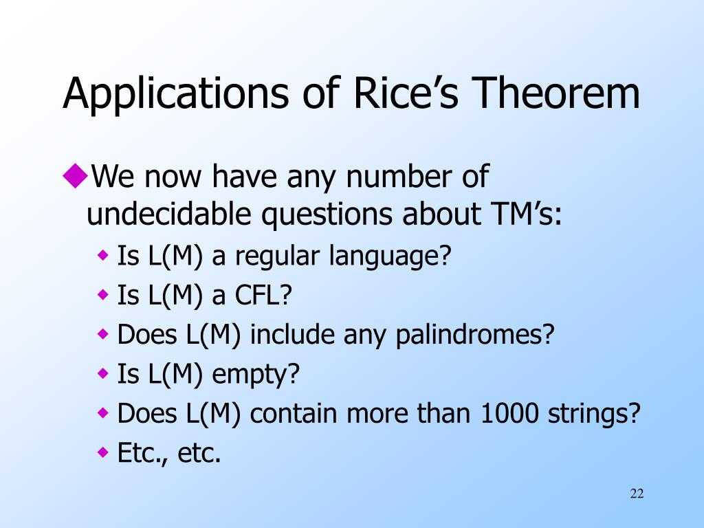 Applications of Rice's Theorem