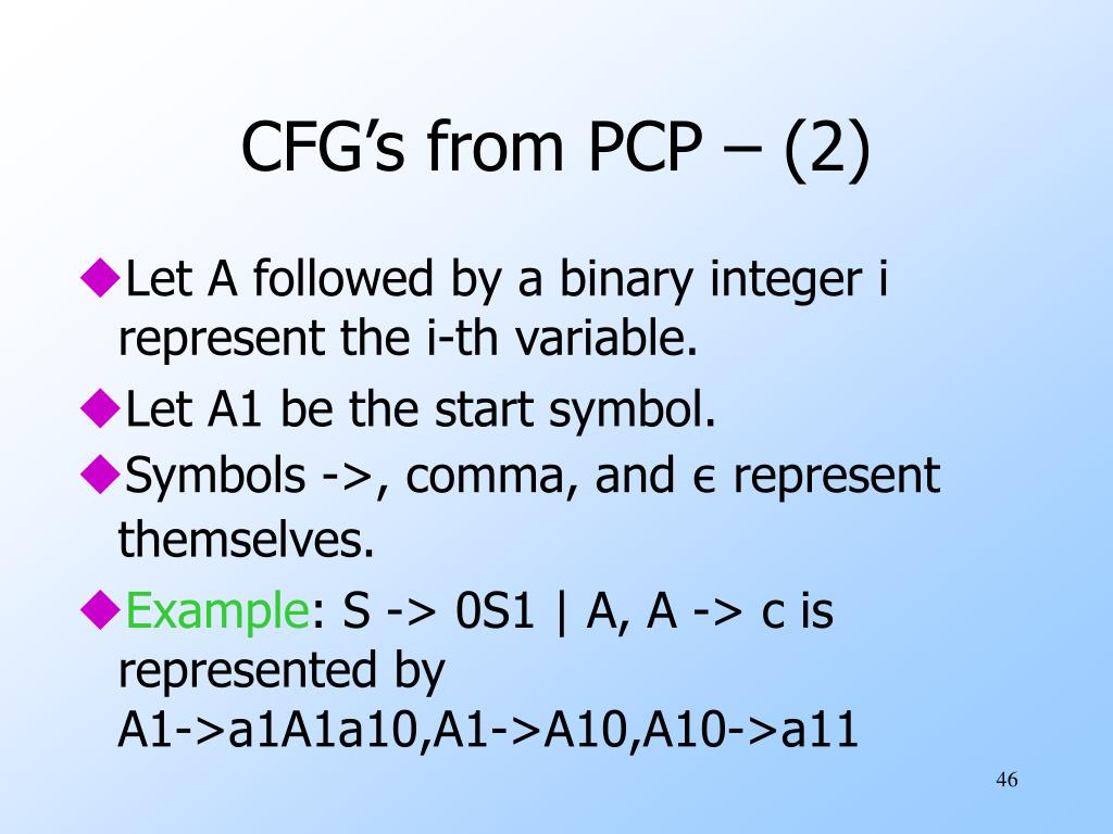 CFG's from PCP – (2)
