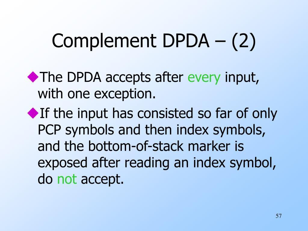 Complement DPDA – (2)