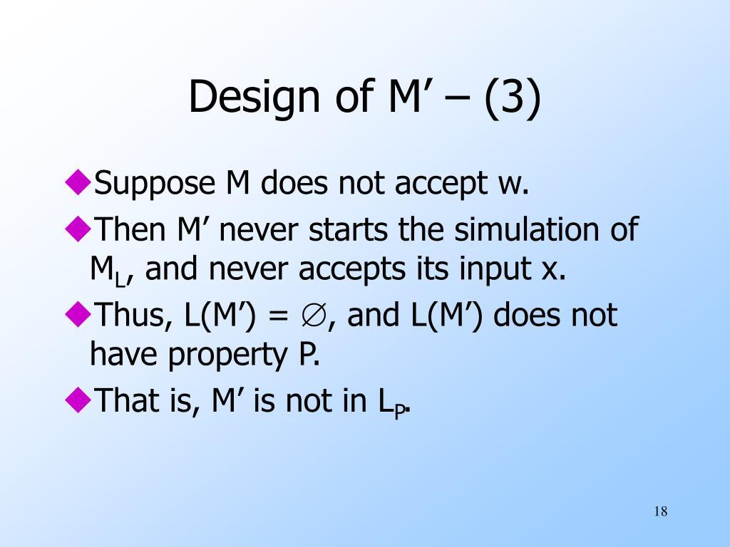 Design of M' – (3)
