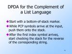 dpda for the complement of a list language