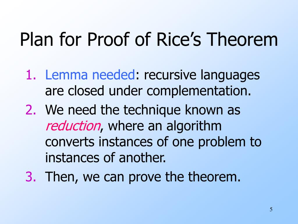 Plan for Proof of Rice's Theorem