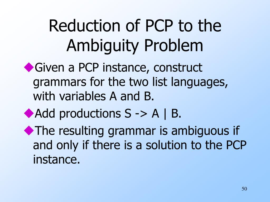 Reduction of PCP to the Ambiguity Problem