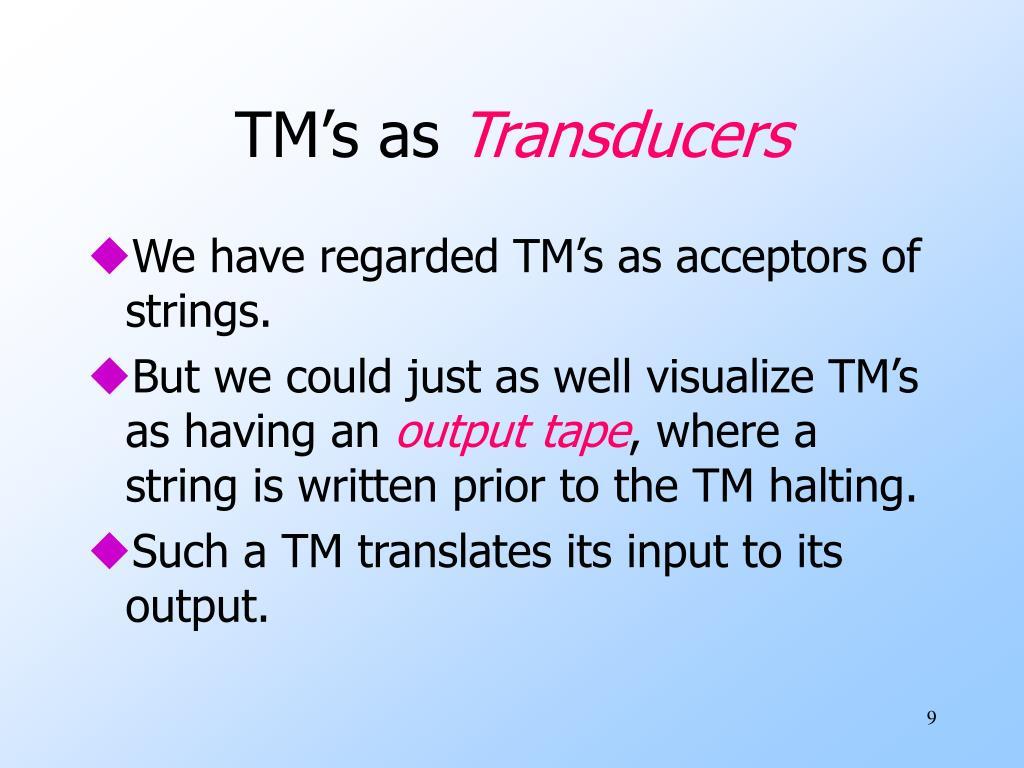 TM's as