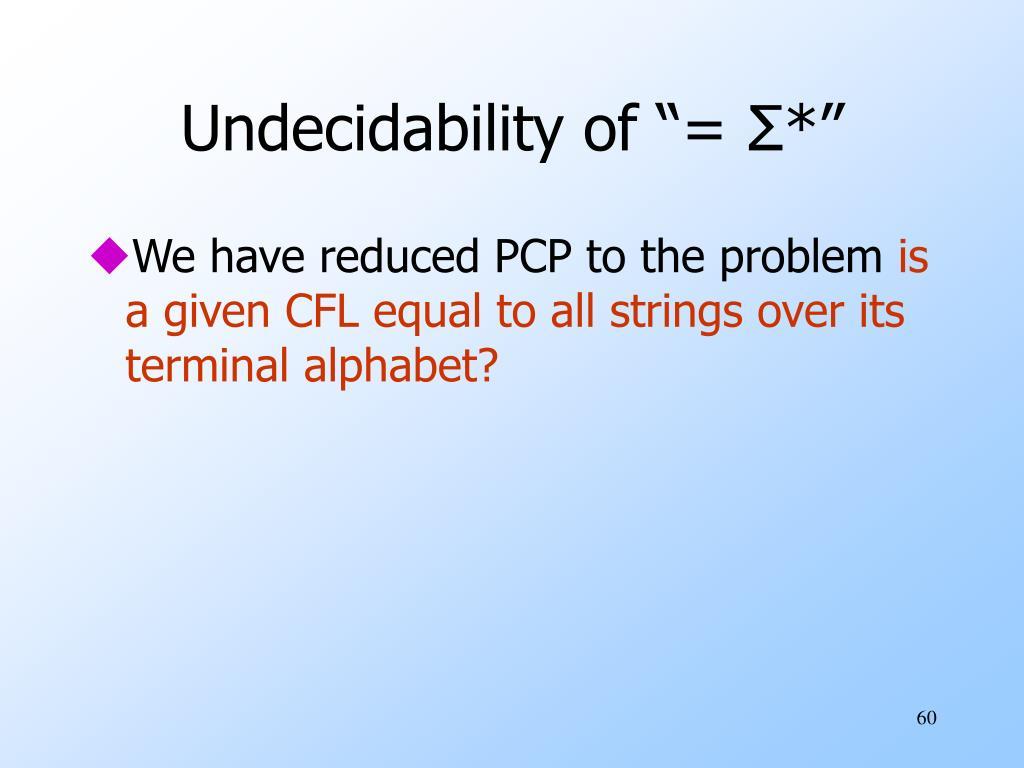 """Undecidability of """"="""