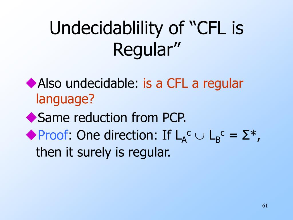 "Undecidablility of ""CFL is Regular"""