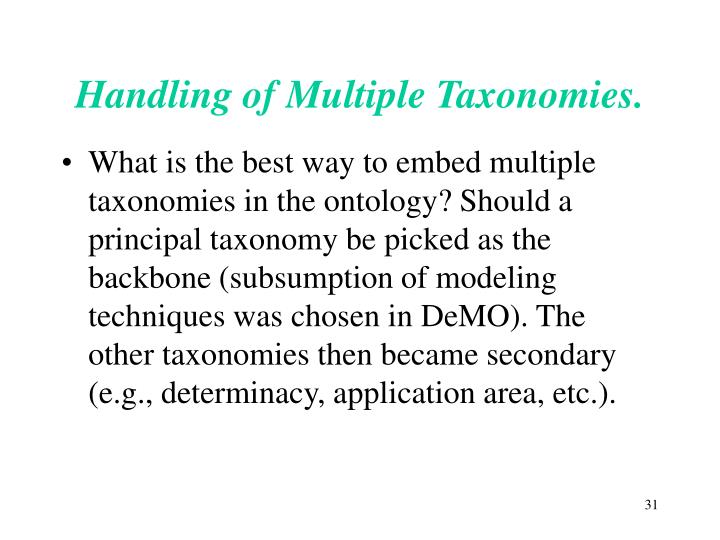 Handling of Multiple Taxonomies.