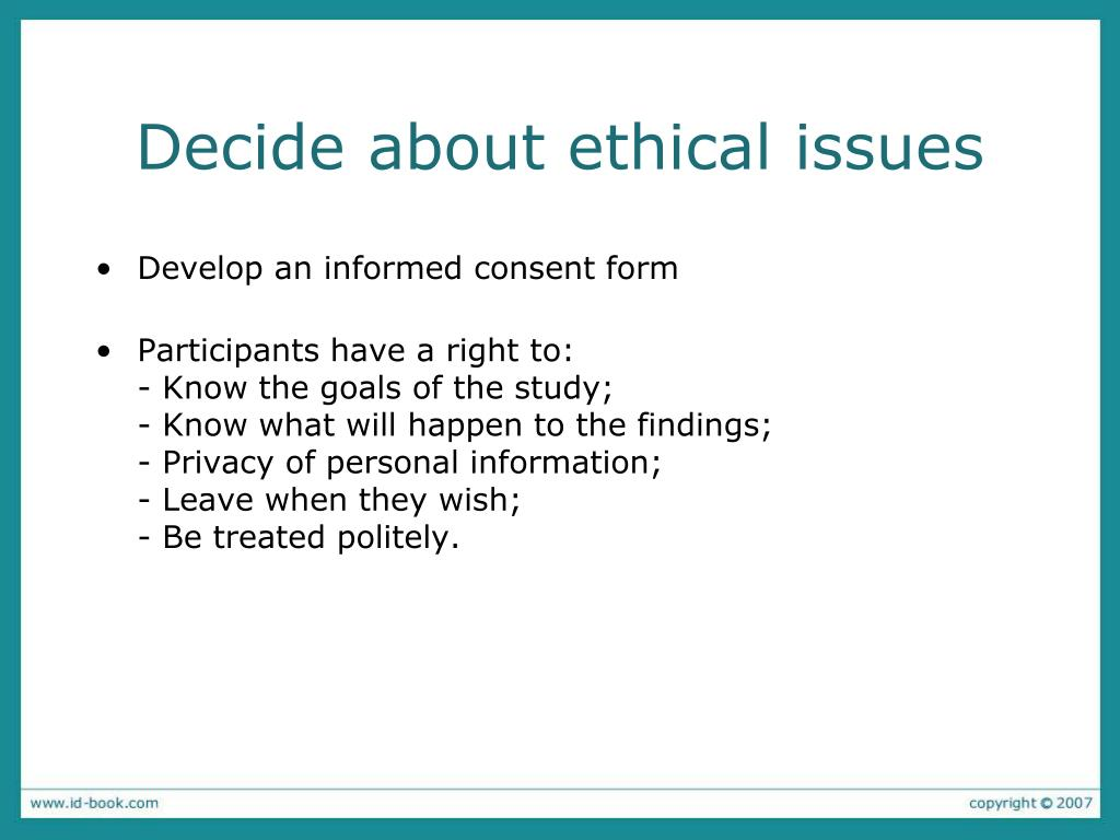 Decide about ethical issues