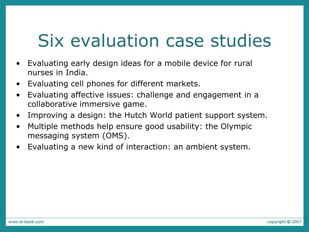Six evaluation case studies