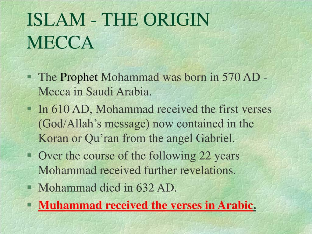 ISLAM - THE ORIGIN