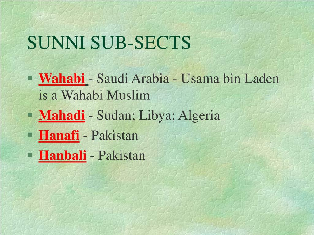 SUNNI SUB-SECTS