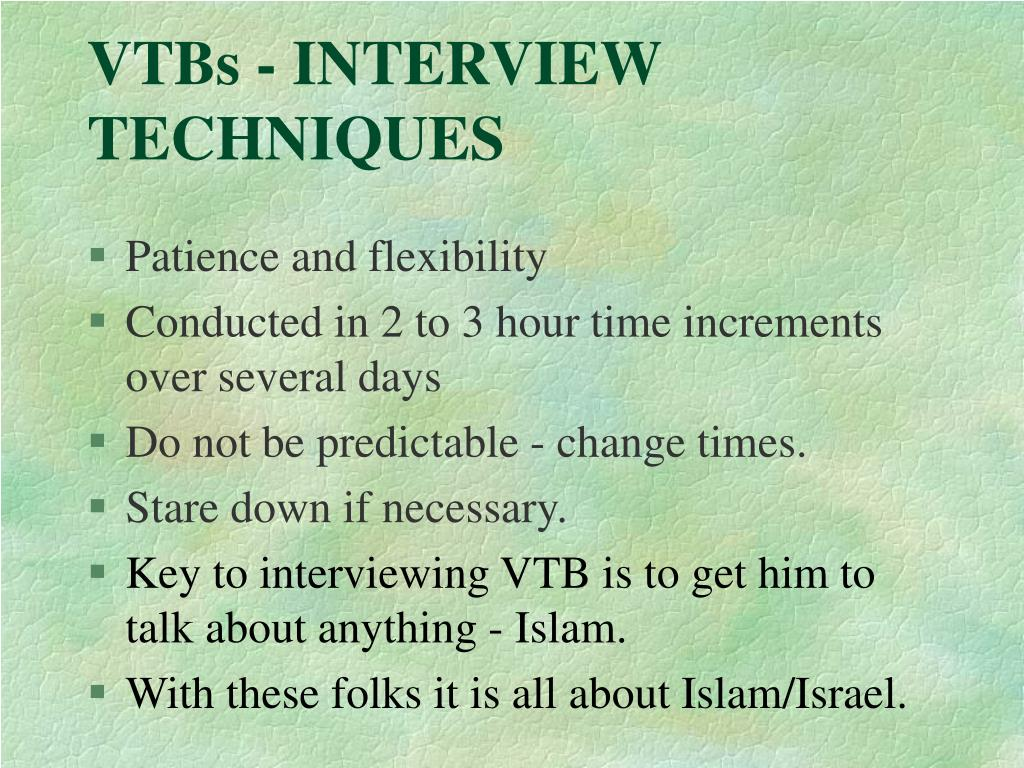 VTBs - INTERVIEW TECHNIQUES