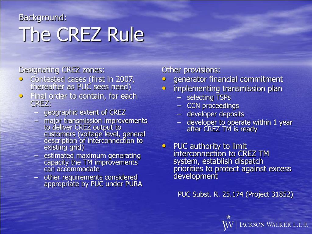 Designating CREZ zones: