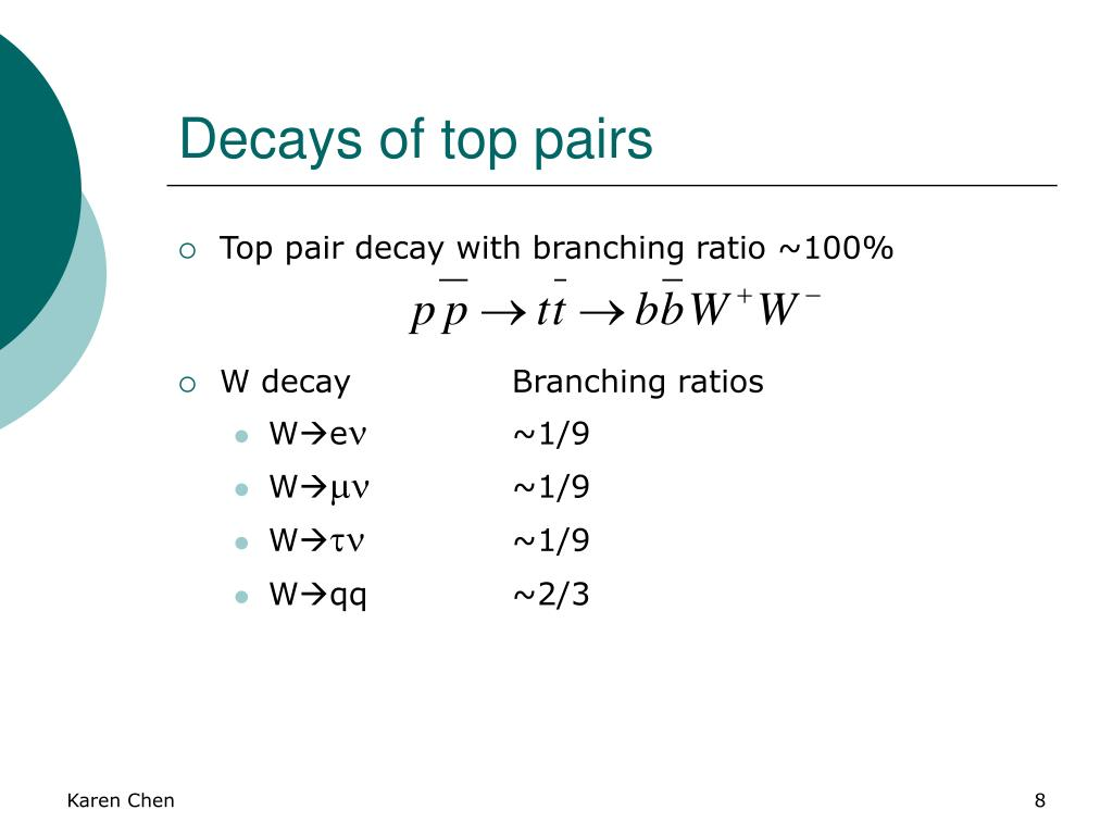 Decays of top pairs