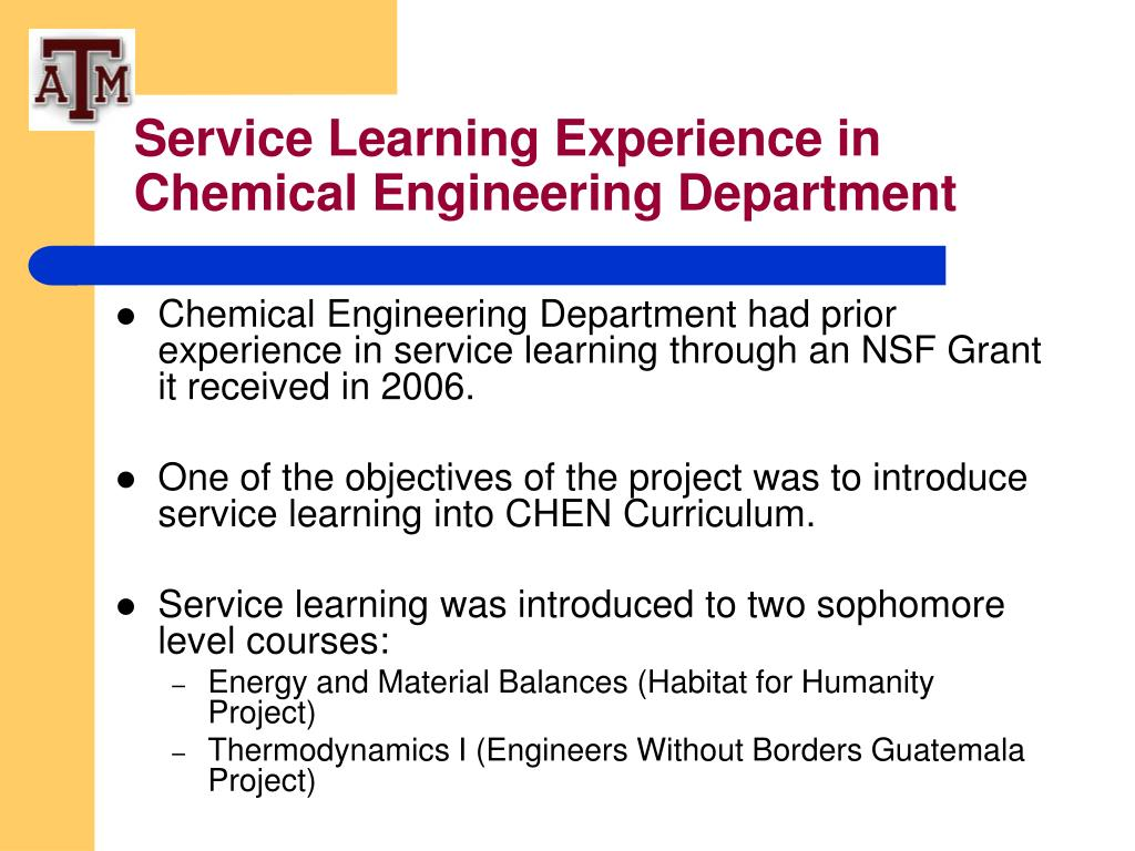 Service Learning Experience in Chemical Engineering Department