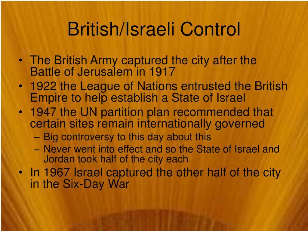 British/Israeli Control