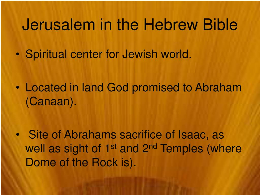 Jerusalem in the Hebrew Bible