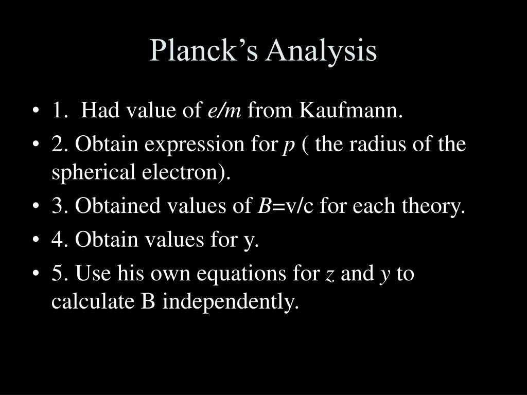Planck's Analysis