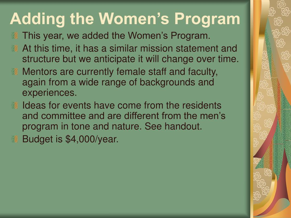 Adding the Women's Program