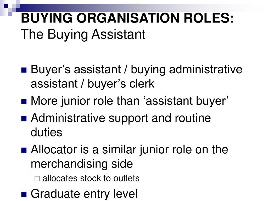 BUYING ORGANISATION ROLES: