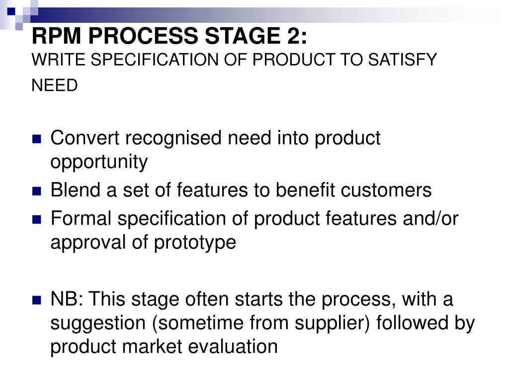 RPM PROCESS STAGE 2: