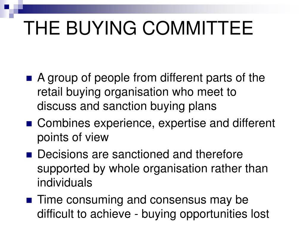 THE BUYING COMMITTEE