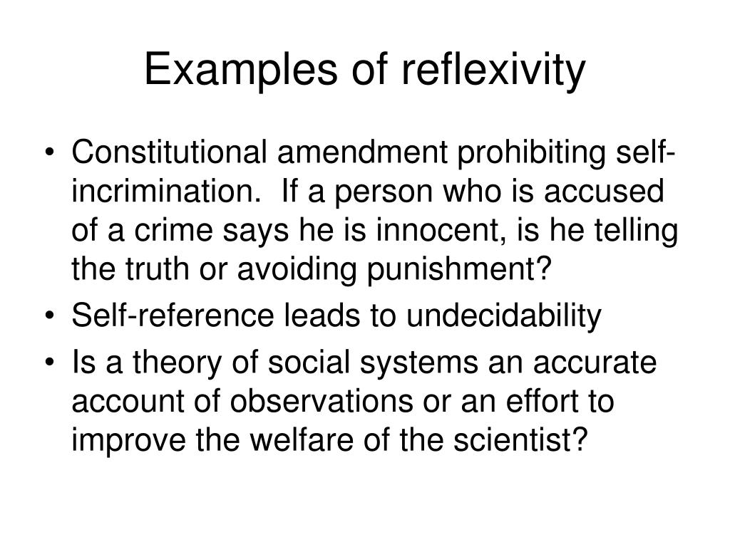 Examples of reflexivity