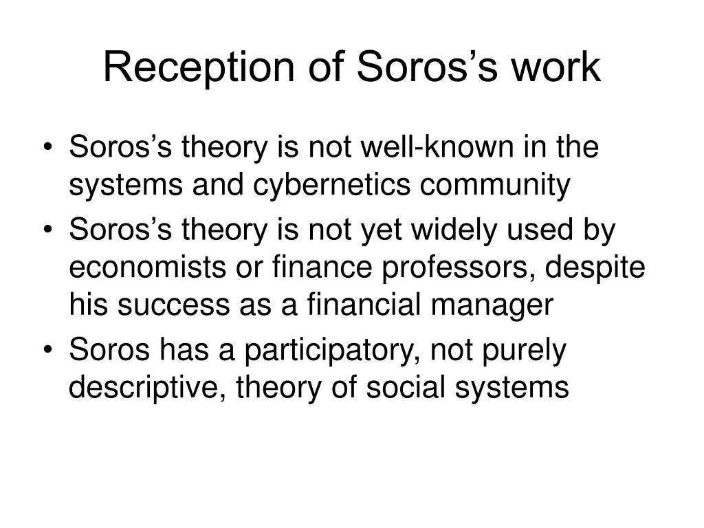 Reception of Soros's work
