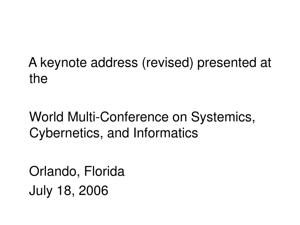 A keynote address (revised) presented at the