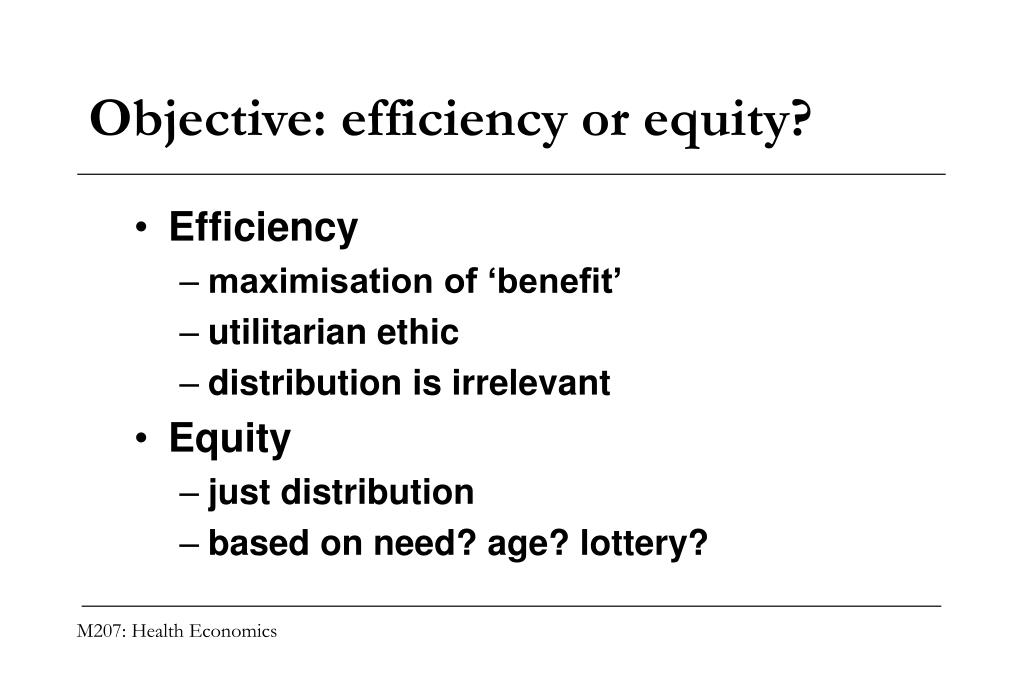 Objective: efficiency or equity?