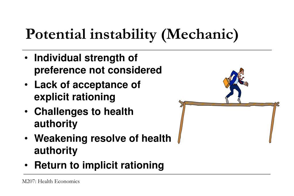 Potential instability (Mechanic)
