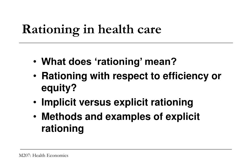 Rationing in health care
